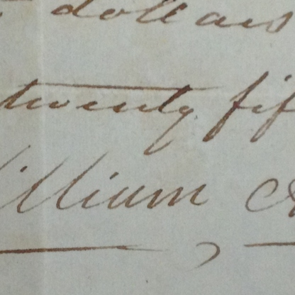 """William Apess's full signature on an I.O.U. located in the Barnstable County courthouse. One of only two known full signatures by Apess in his own hand. The other is on the 1833 Mashpee Memorial written while he served out his prison time for """"inciting a riot"""" in the 1833 attempt by the Mashpee to wrest control over their community from appointed white Overseers (known as the Mashpee Revolt)."""