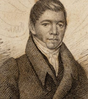 Engraving made from 1830 John Paradise portrait of William Apess, which appears in the 1831 edition of Apess's A Son of the Forest.