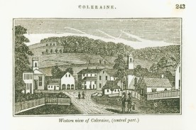 "An 1820 view of Colrain's town center. When Apes was born in 1798 the surrounding hills were still covered in forest. By 1820, however, much of the forest had been cleared for farming and grazing. (Henry N. Flint Library, Special Collections, folder # 6, ""Miscellaneous."" Historic Deerfield Library)"