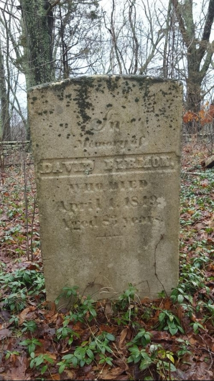 "Gravestone: ""In Memorial of David Firmon, Who Died April 1, 1849, Aged 83 years."" Apess had a troubled relationship with Mr. Furman (as he spells it in A Son of the Forest) and recalls one time when Mr. Furman ""came to the place where I was working and began to whip me severely. I could not tell for what. I told him I had done no harm, to which he replied, 'I will learn you, you Indian dog,'"" The Firman's eventually sold Apess's indenture to William Hillhouse and Apess was no longer connected in any way to the Firmon family."